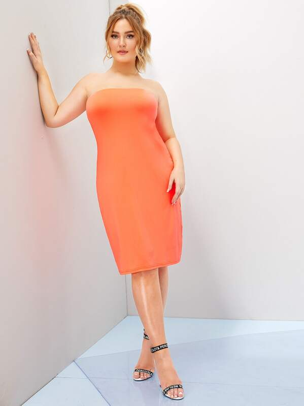 Plus Neon Orange Tube Dress