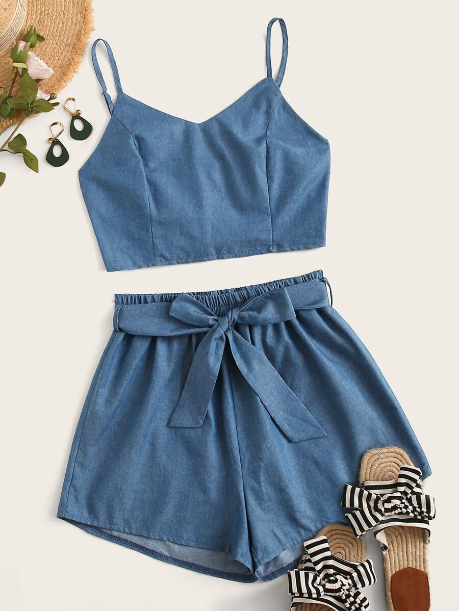 Shirred Cami Top With Belted Paperbag Shorts by Sheinside