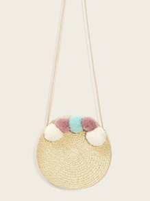 Pom-pom Decor Round Straw Crossbode Bag