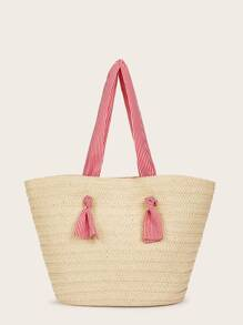 Knot Detail Straw Tote Bag