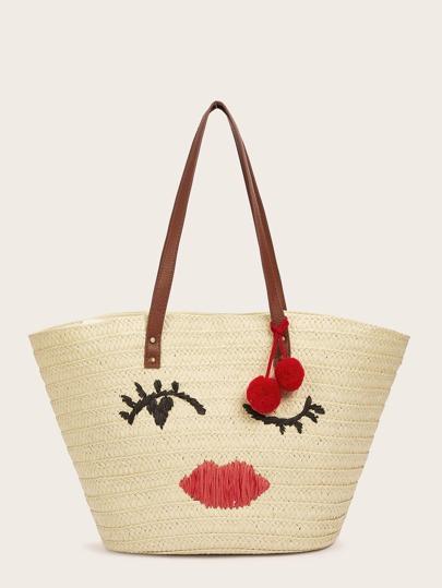 6f1cb7f0f35 Pom-pom Detail Woven Tote Bag