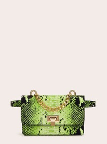 Chain Detail Snakeskin Bum Bag