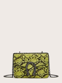 Metal Detail Snakeskin Pattern Chain Crossbody Bag