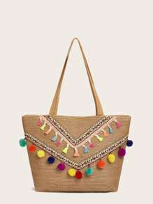 Pompom & Tassel Decor Tote Bag