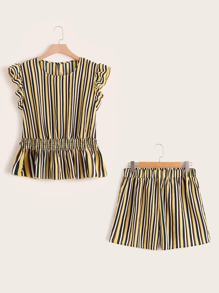 Plus Striped Shirred Top With Shorts