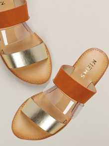 Multi Material Band Flat Slide Sandals