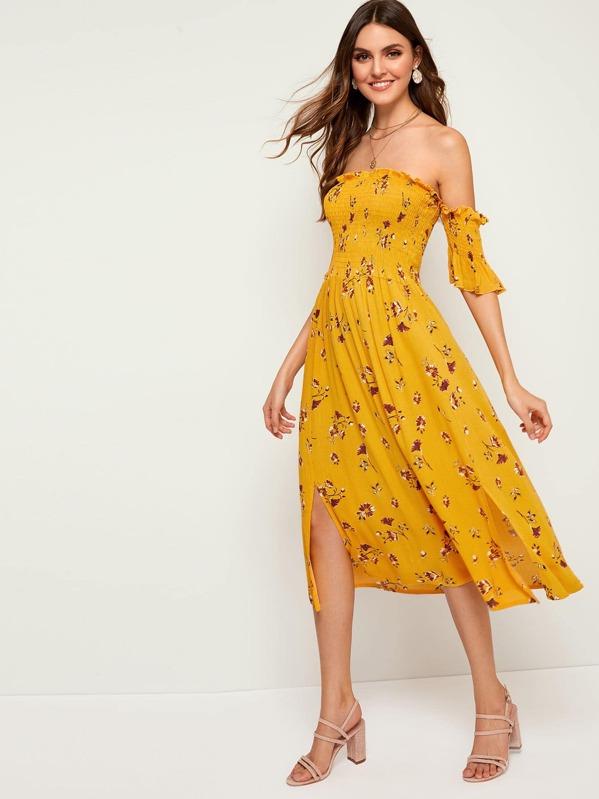 c8d202d146b31 Shirred Floral Print Off The Shoulder Dress