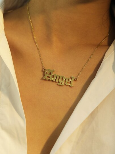 Letter Pendant Chain Necklaces 1pc