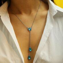 Gemstone Detail Lariats Chain Necklaces 1pc