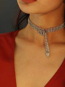 Square Buckle Detail Wide Rhinestone Choker 1pc
