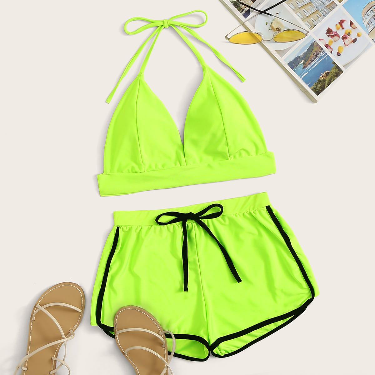 SHEIN coupon: Neon Lime Halter Shorts Bikini Swimsuit