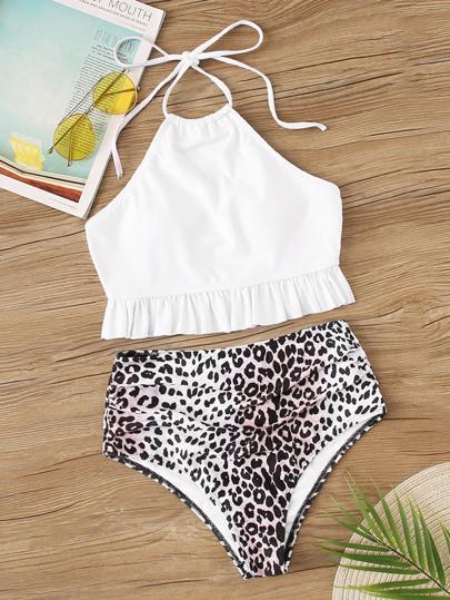 2ad3c24c27e77 Ruffle Hem Halter Top With Leopard Panty Bikini Set