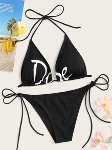 Letter Triangle Top With Tie Side Bikini Set