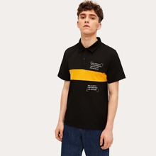 Guys Letter Print Contrast Panel Polo Shirt
