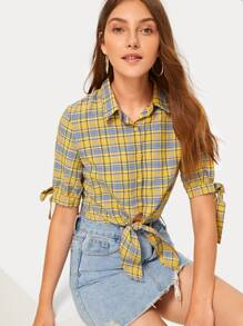 Knot Hem Plaid Blouse