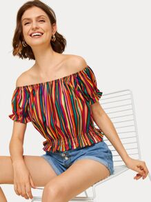 Off-shoulder Rainbow Stripe Peplum Blouse