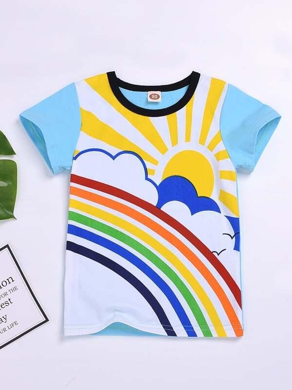 5f565b2b4 Toddler Boy Sun & Rainbow Print Tee | SHEIN