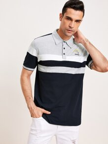 Men Cut And Sew Dolphin Embroidered Polo Shirt