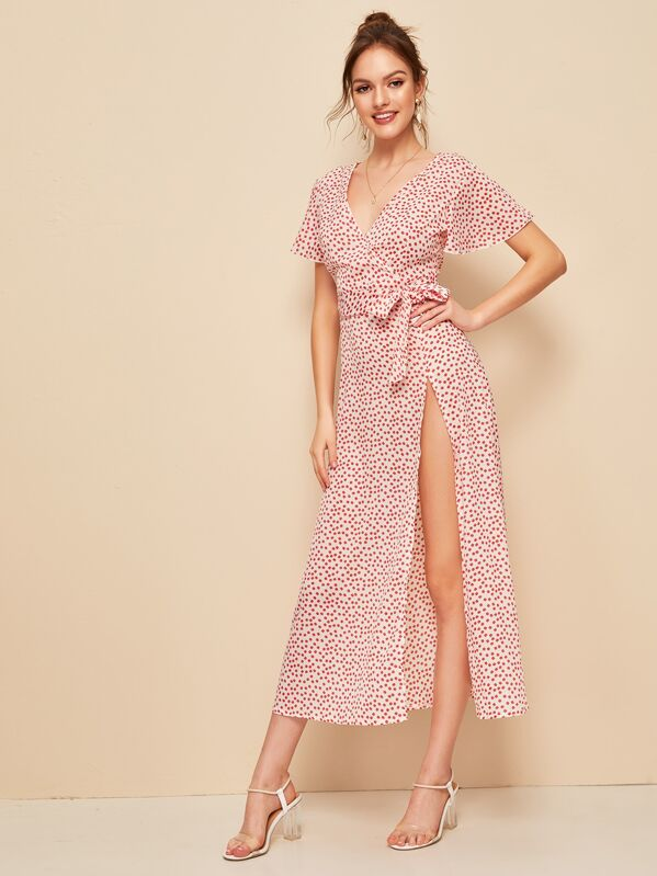 5adbdeb837 Ditsy Floral Print Split Thigh Wrap Knotted Dress | SHEIN