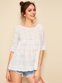 Eyelet Embroidery Scallop Hem Blouse