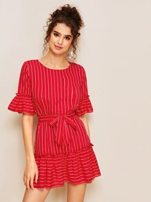Striped Ruffle Hem Belted Dress