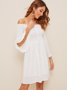 Flounce Sleeve Shirred Off Shoulder Dress