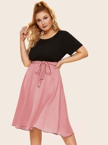 Plus Two Tone Belted Dress