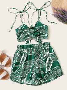 Jungle Leaf Print Shirred Knotted Top & Shorts Set