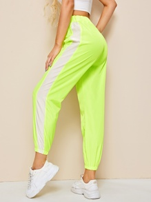 Elastic Waist Neon Lime Cut And Sew Pants