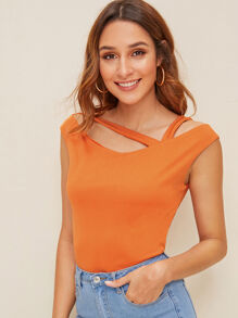Cut Out Asymmetrical Neck Tee