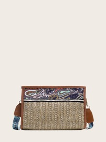 Tribal Pattern Woven Crossbody Bag