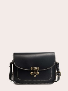Metal Lock PU Crossbody Bag