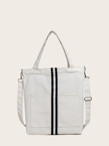 Colorblock Pocket Decor Tote Bag