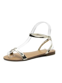 Metallic Open Toe Slingback Sandals