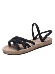 Criss Cross Braided Slingback Sandals