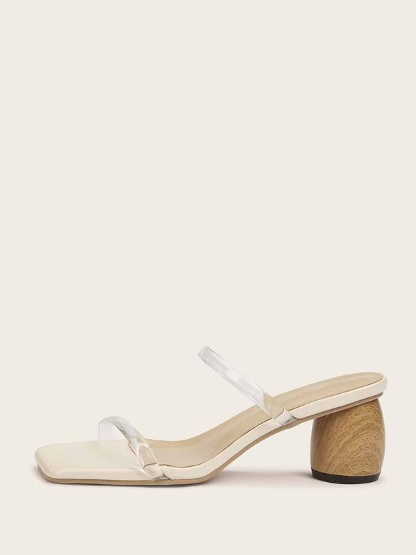 4eb774b4df3 Transparent Open Toe Chunky Heels
