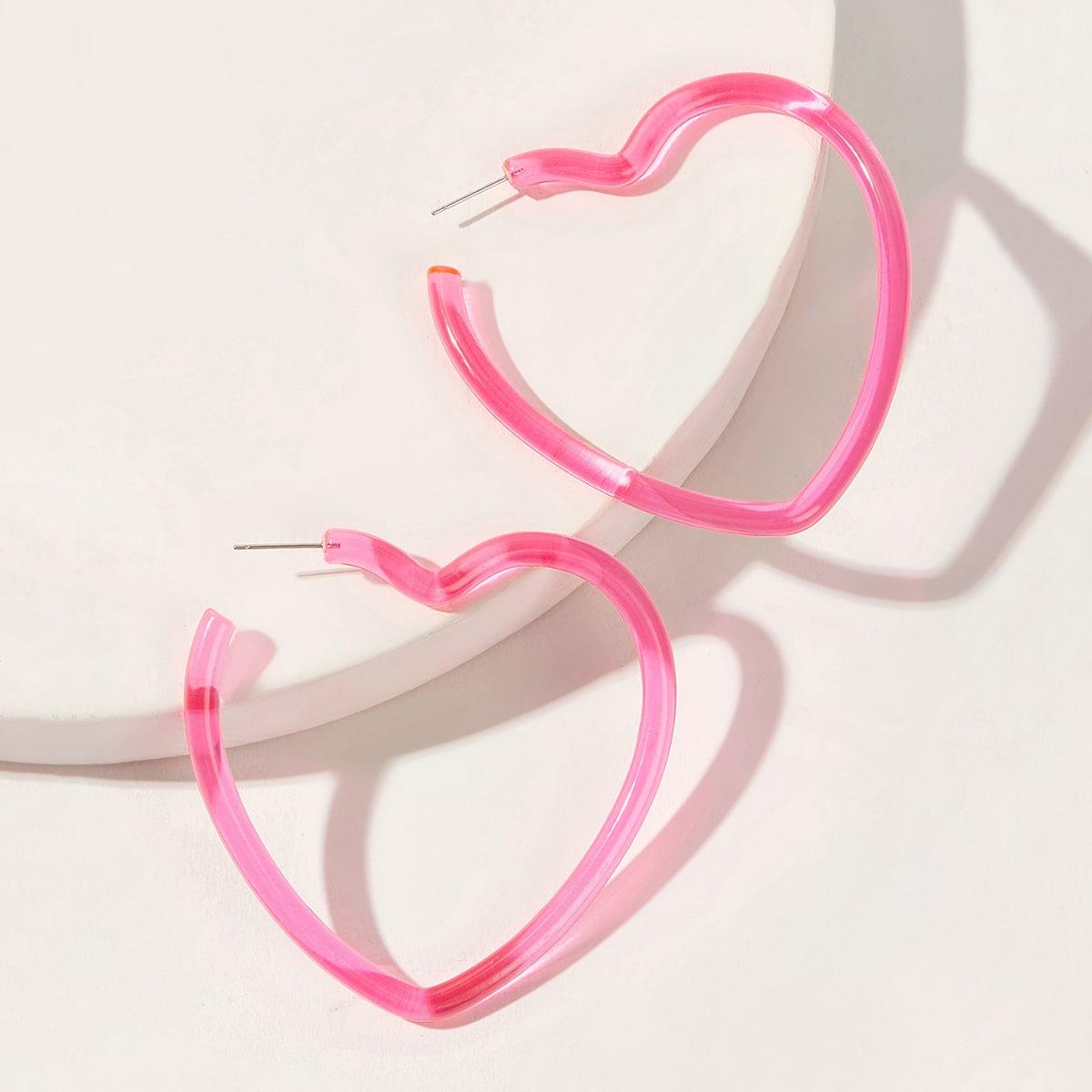Серьги-кольца в форме сердца 1 пара от SHEIN