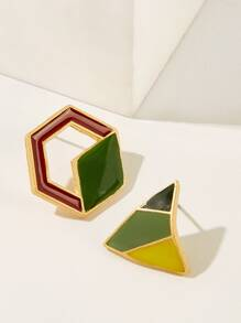 Colorblock Geometric Mismatched Stud Earrings 1pair