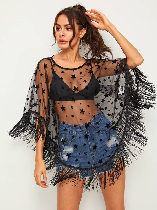 1e5399fcef Star Sheer Mesh Tassel Hem Cover Up Without Bra | SHEIN