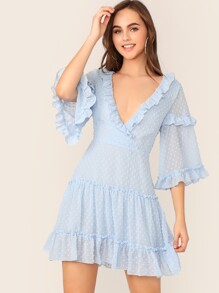 Surplice Neck Ruffle Trim Layered Swiss Dot Dress