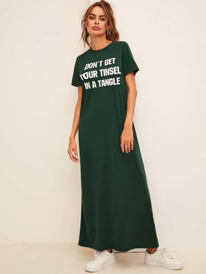 Slogan Graphic T-Shirt Dress