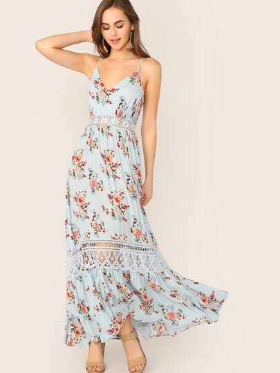 ccc11538 Guipure Lace Insert Flippy Hem Floral Print Cami Dress | SHEIN UK