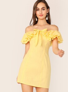 Off Shoulder Knot Front Layered Ruffle Trim Dress