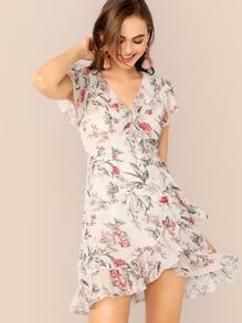 Ruffle Trim Floral Print Wrap Dress