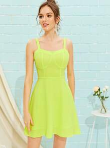 Neon Lime Shirred Back Fit & Flared Dress