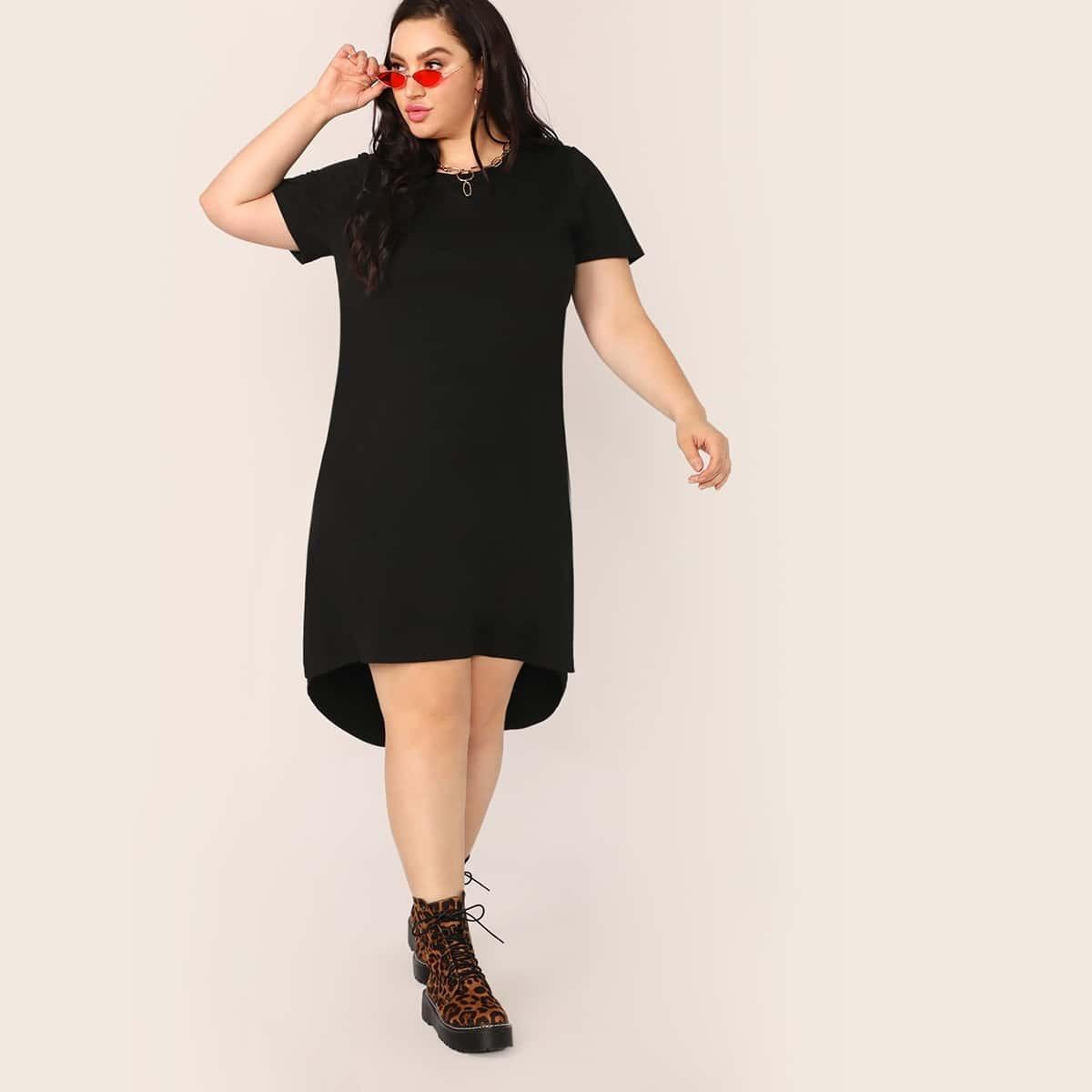 Plus Split – Kleid mit hohem, tiefem Saum