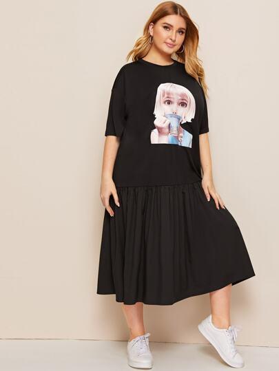 85b8067ebf96d فستان بحافة مكشكش مقاس كبير مع طباعة شخصية