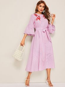 Embroidered Front Belted Striped Dress