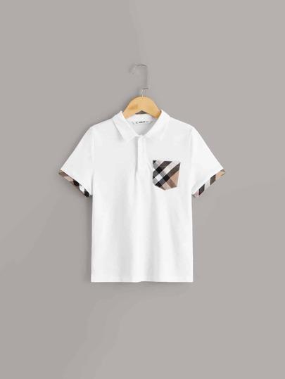 dfd0af1f00 Boys Plaid Print Pocket Patched Polo Shirt