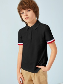 Boys Striped Tape Polo Shirt